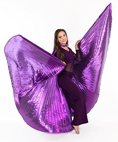 Turkish Emporium Isis Wings Für Bauchtanz Tanz Schleier Flügel Schleier Zubehör Kostüme Fasching Karneval mit Metallstäben (one size, Lila)