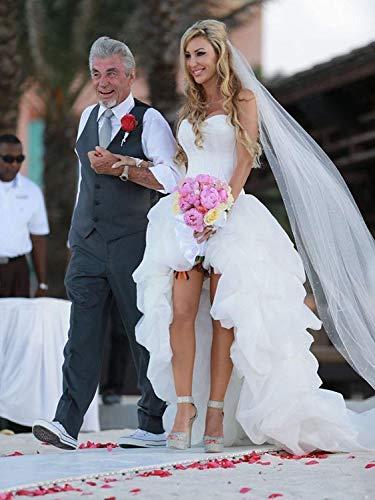 YASIOU Hochzeitskleid Elegant Damen Lang Weiß A Linie Hinten Lang Vorne Kurz Hochzeitskleider Brautkleid Große Größen mit Schleppe - 2