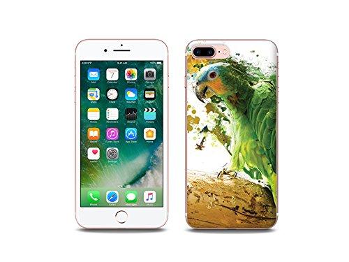 etuo Apple iPhone 8 Plus - Hülle Foto Case - Grüner Papagei - Handyhülle Schutzhülle Etui Case Cover Tasche für Handy