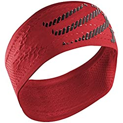 Compressport Headband On/Off - Cinta de Cabeza Unisex, Color Rojo, Talla única
