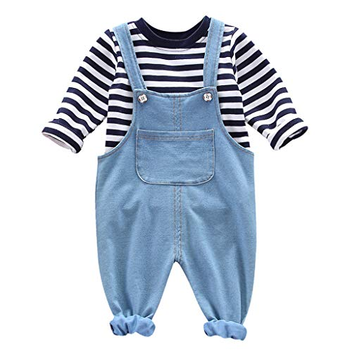 Day.LIN 2er Babyset Hose & Shirt für Mädchen und Jungen 1-4Jahre Kinder Langarm gestreiftes T-Shirt Top + Denim Bib Set