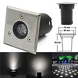 Led Luminaires Encastrés de Jardin (1W Blanc Naturel / Carré) 230V Encastrés de Projecteur Extérieur IP67