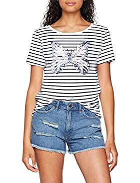 Only Onlkita Butterfly S/S T-Shirt Jrs, Camiseta para Mujer