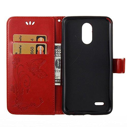 Solid Color Faux Leder Bookstyle Brieftasche Stand Case mit geprägten Blumen & Lanyard & Card Slots für LG LS777 ( Color : Red ) Red