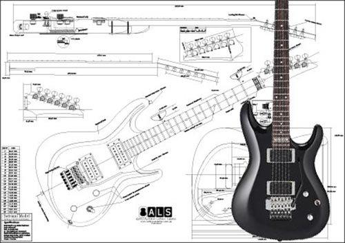 Plan von Ibanez Satriani Modell E-Gitarre-Full-Scale Print