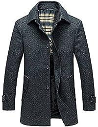 BININBOX® Herren Wolljacke kurzer Wollmantel mit Umlegkragen Winterjacke  Slim Fit Gefüttert in Grau 0b8a1e6116