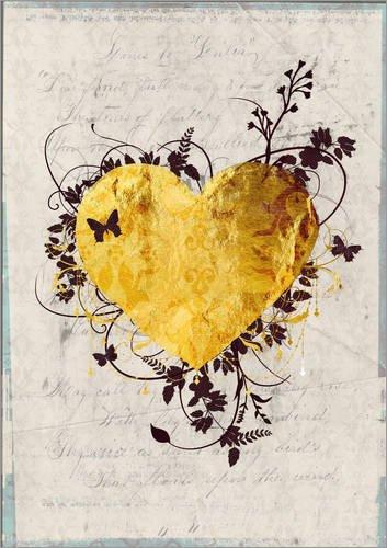 Posterlounge Acrylglasbild 100 x 130 cm: Goldenes Herz von Sybille Sterk - Wandbild, Acryl Glasbild, Druck auf Acryl Glas Bild