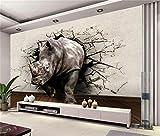 CHTTERY Größe Wandbild Tapete Kinderzimmer 3D Fototapete Nashorn Wand Höhle HD Malerei Sofa TV Hintergrund Wand Vlies Aufkleber, 300x210 cm (118.1 by 82.7 in)