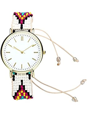 JSDDE Damen Geflochten Armbanduhr Strand Boho-Stil Armreif Uhr Analog Qaurz Einstellbar Uhr Trenduhrr,Weiß-Rot-Gelb