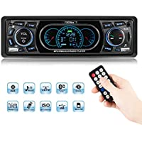 Favoto 1 Din 4x60W 12V Reproductor MP3 Estéreo de Audio de Coche Transmisor FM Radio con Bluetooth USB Cargador Tarjeta SD 3.5mm AUX con Control Remoto Llamadas Manos Libres para Automóvil Universal Negro