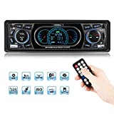 Favoto Car Stereo Receiver - Bluetooth MP3 Player Radio Audio FM Receiver Single DIN 4 x 60W with Remote Control Support Hands-free Call USB SD FM AUX DC12V for Installing at Center Console Car SUV