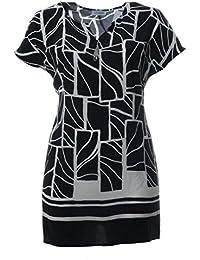 e4be00f9ed20 Chalou ärmelloses Damen Longtop Longshirt mit Muster in Schwarz Sommer-Mode  Große Größen Elegant
