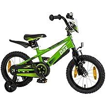 """'Bicicletta per bambini 14""""pollici (= 35,6cm) Little Dax"""" Timmy verde rotelle + Cavalletto laterale"""