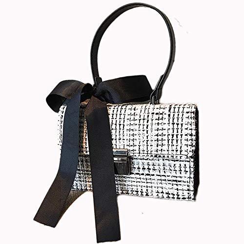 Reinigen, Satin-handtasche (DEAR-JY Umhängetasche, Damenmode Wolle Umhängetaschen Damenhandtaschen elegant getäfelten, Wolle Handtasche Bogen Satin Kontrastfarbe Umhängetasche,White)