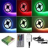 5M LED Bande SMD5050 300 Ampoules Eclairage Etanche Flexible Adapteur Inclus (Multicolore RGB) - PL709A+EU