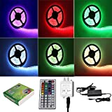 TKOOFN Tira de Luz 5m 500CM RGB 5050 300 SMD LED Strip + 44 Tecla IR Remote Control + Adaptador 12V 6A 72W - impermeable - (Multicolores RGB) PL709A+EU