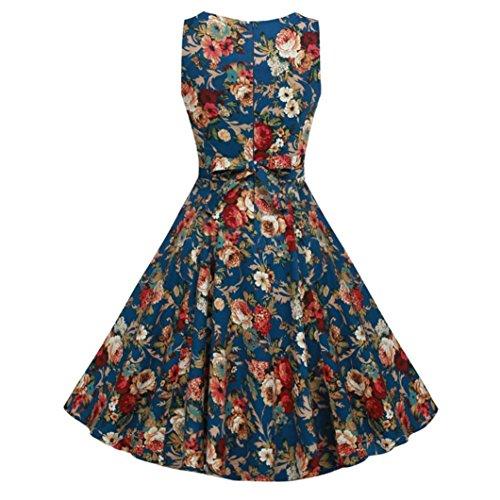 FEITONG Mode Féminine Vintage Imprimé Sans Manches Big Bottom Robe Trapèze Bleu