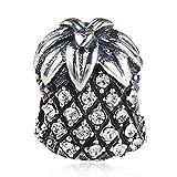 925 Sterling Silber Ananas-Charm Glücksbringer Geburtstag Charm Weihnachten Charm Obst Charm für Armband weiß