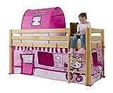 Relita BH1001114+TX5302084 Halbhohes Spielbett ALEX, Maße 207 x 113/183 x 98 cm, Liegefläche 90 x 200 cm, Buche massiv natur lackiert, mit Textil-Set Disney Hello Kitty
