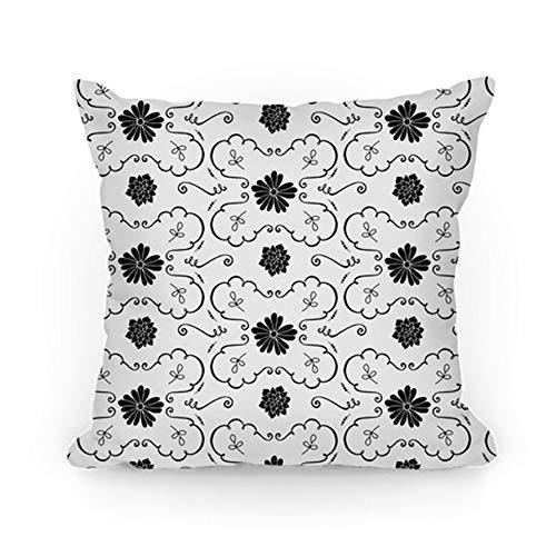 Klotr Fundas Almohada Black and White Floral Wallpaper
