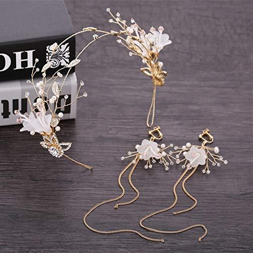 XNheadPS Kleine Trompete Braut Stirnband Kopfschmuck Hochzeitskleid Zubehör Zeigen Hochzeit Haarschmuck Ohrringe Gesetzt (Perlen Trompete Kleid)