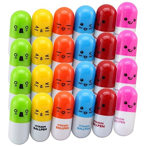 TXY Gesicht Multicolor Teleskopisch Kapsel Pillen Kugelschreiber Stift Vitaminpillen kapseln versenkbare Kugelschreiber Briefpapier Kugelschreiber 6 Farben 24 Pcs