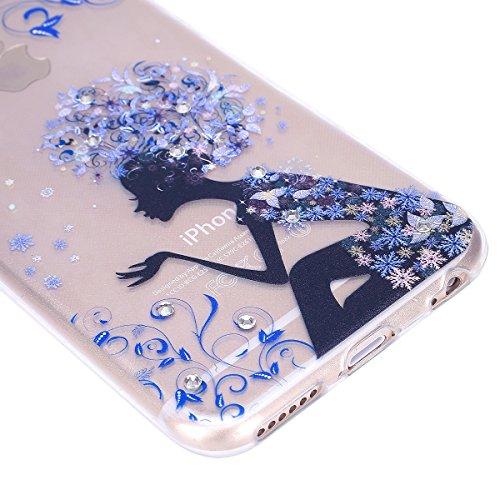 iPhone 7 Custodia, iPhone 7 Cover, iPhone 7 4.7 Custodia Silicone, JAWSEU Moda Stile Lusso Cristallo di Bling Brillante Sparkle Glitter Custodia per iPhone 7 Back Cover Case Ultra Sottile Flessibile G Ragazza floreale Blu