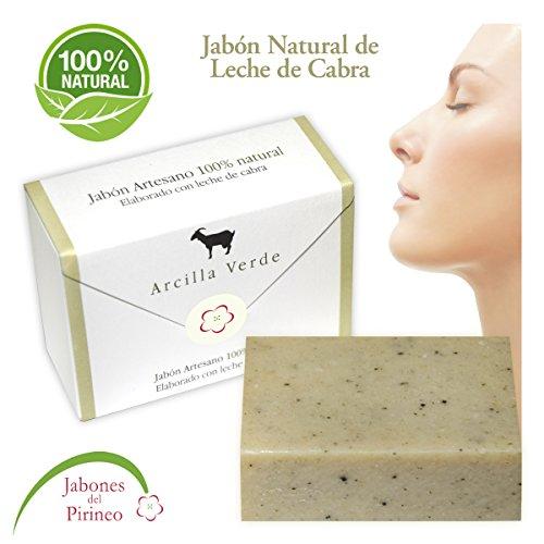 Jabones del Pirineo - Jabón de Leche de Cabra con Arcilla Verde 100% Natural para Pieles Sensibles