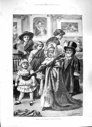 Old Original Antik viktorianischen Print 1885 Dressing Charade Kinder Fancy Dress Kostüm 009p186