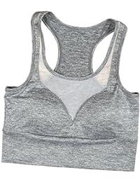 Kairuunn Mujer Sujetador Deportivo Push Up Bustier con Amplio Correas Fitness Yoga Camisetas Sin Mangas