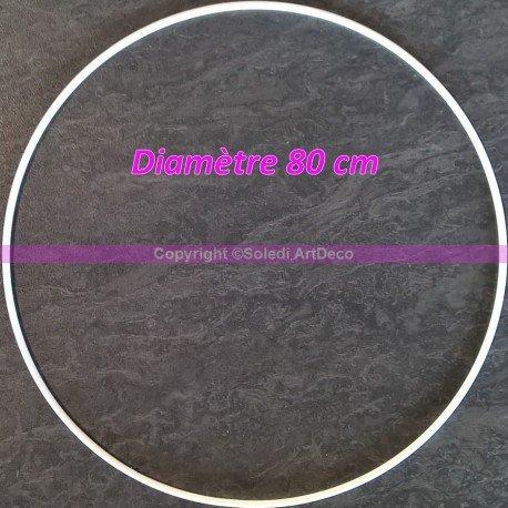 Grand Cercle XXL métallique blanc diam. 80 cm pour abat-jour, Anneau epoxy blanc Attrape rêves