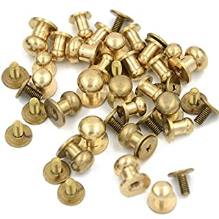 Angelakerry 20pcs Mix Size Sam Browne Stud Screw Round Head Solid Brass Rivet Chicago Button Leather