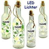 """5 Stück _ LICHT Dekoflaschen - je 10 Stück LED - """" Blumen & Schmetterlinge """" - incl. Name - Flasche mit Licht - Batterie betrieben - Dekolicht - Sommer & Winter - Dekoration - Lampe - Tischlicht - Dekoglas / Laterne - Sternenlicht / Flaschen mit Beleuchtung - Lichterkette - Drahtlichter - Stimmungslicht - Frühling - Garten - Schmetterling Blume - Lampen Deko - Weinflasche - Flaschenbeleuchtung / leuchtend Fenster - Wohnzimmer - Leucht Glas"""