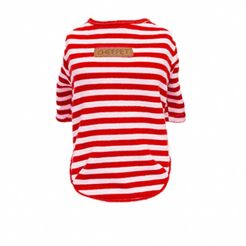 Generic Soft Pet Clothes Dog Cat Classic Stripe T-shirt Sweater Pet Autumn Apparel s-xxL - red, L