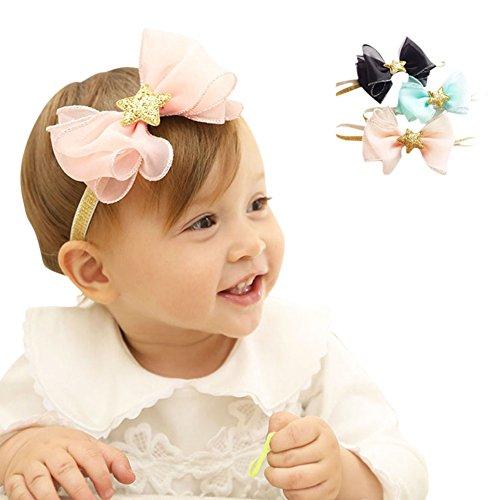COUXILY Bambina Fascia Capelli Fasce Cerchietti con un Inchino Accessori fiore fasce per Battesimo