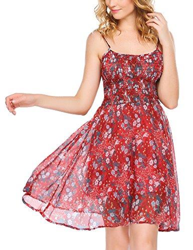 Zeagoo Damen Chiffon Kleid Strandkleid Blumen Druckkleid Bandeaukleid Floral Sommerkleid Spaghetti Trägerkleid, Rot, 40 (Herstellergröße : L) Floral Print Chiffon Kleid