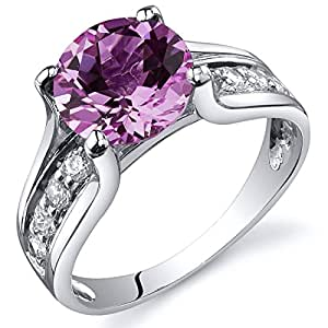 Revoni Solitaire Style 2.75 carats Pink Sapphire Ring in Sterling Silver Size J,