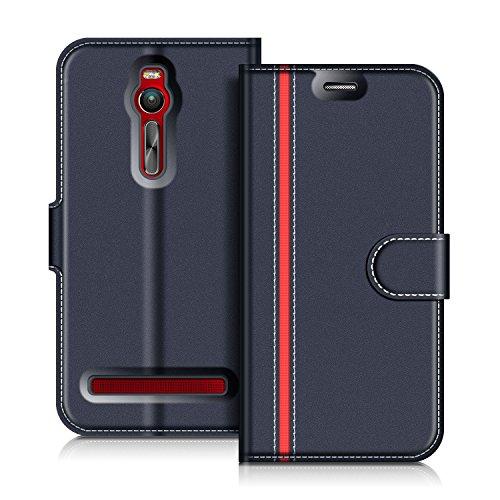 COODIO ASUS Zenfone 2 ZE551ML Hülle Leder Lederhülle Ledertasche Wallet Handyhülle Tasche Schutzhülle mit Magnetverschluss/Kartenfächer für ASUS Zenfone 2 ZE551ML, Dunkel Blau/Rot