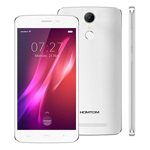 HOMTOM HT27 - 5.5 pouces Ultra mince Android 6.0 Quad Core 1.3GHz Reconnaissance d'empreintes digitales 3G smartphone 5MP + 8MP Caméra 8GB Dual SIM - blanc