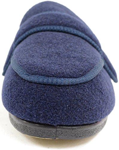 Homme orthopédique/EEE Coupe Large Velcro réglable pantoufle/pantoufles Bleu - Bleu marine