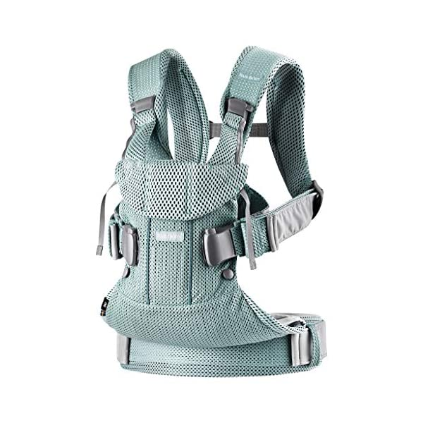 BABYBJÖRN Baby Carrier One Air, 3D Mesh, Frosted Green, 2018 Edition Baby Bjorn The latest version (2018) with soft and breathable mesh that dries quickly Ergonomic baby carrier with excellent support 4 carrying positions: facing in (two height positions), facing out or on your back 2