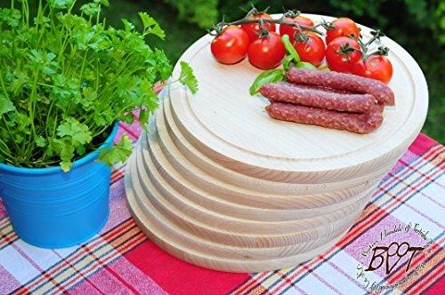 Frühstücks-Servierbrett, RUND-Holz, 8 Stück - massive, hochwertige ca. 15 mm starke Holzbrett rund - oval / abgerundete Kanten, Holzbrettchen groß rund, mit Rillung natur mit abgerundeten Kanten, Maße rund je ca. 25 cm Durchmesser als Kräuterbrett, Brotzeitbrett, Bayerisches Brotzeitbrettl, NEU Massive Schneidebretter, Steakteller schinkenbrett rustikal, Schinkenteller von BTV