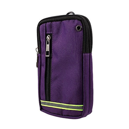 DFV mobile - Multipurpose Reflective Universal Belt Case with 3 Compartments for for => LG G Flex, F340L > Purple (17 x 10 cm)