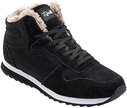 Gaatpot Herren Damen Stiefel Schneestiefel Hohe Sneaker Warm Gefütterte Schnürstiefel Schuhe Schwarz EU 37 = CN 38