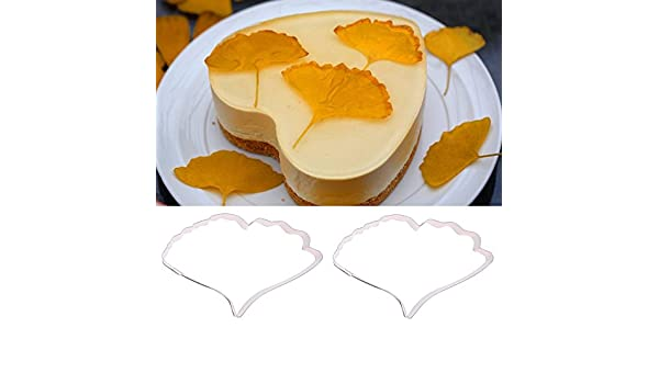 Ginkgo Leaf Shape Biscuit Fondant Cake Cookie Baking Mold Stainless Steel LE