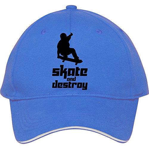 Skate and Destroy Vector Baseball Snapback Cap. Baumwolle in Frauen-genesim Hüte verstellbar Hat, Blau (Polo-hüte Blau)