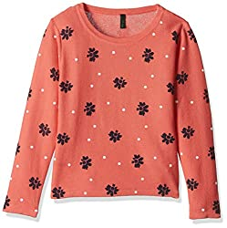 United Colors of Benetton Girls Cardigan (16A1TRIC0012I901EL_Orange and Multicolored)