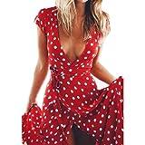 Damen kleider Elegant Btruely Rundhals Ausschnitt Kurzarm Lang Rock Boho Beachwear Urlaub Strandkleid Cocktailkleid (M, Rot)