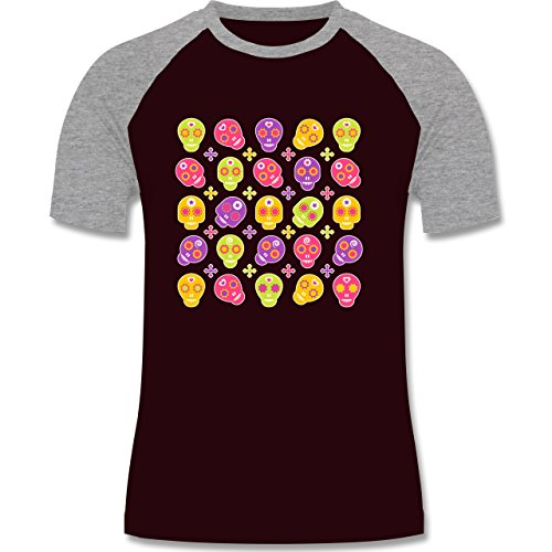 Rockabilly - Candy Skull - zweifarbiges Baseballshirt für Männer Burgundrot/Grau meliert