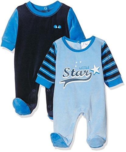 Twins Baby-Jungen Schlafstrampler aus Velours Little Star-2er Pack, Mehrfarbig (Mehrfarbig 3200), 80